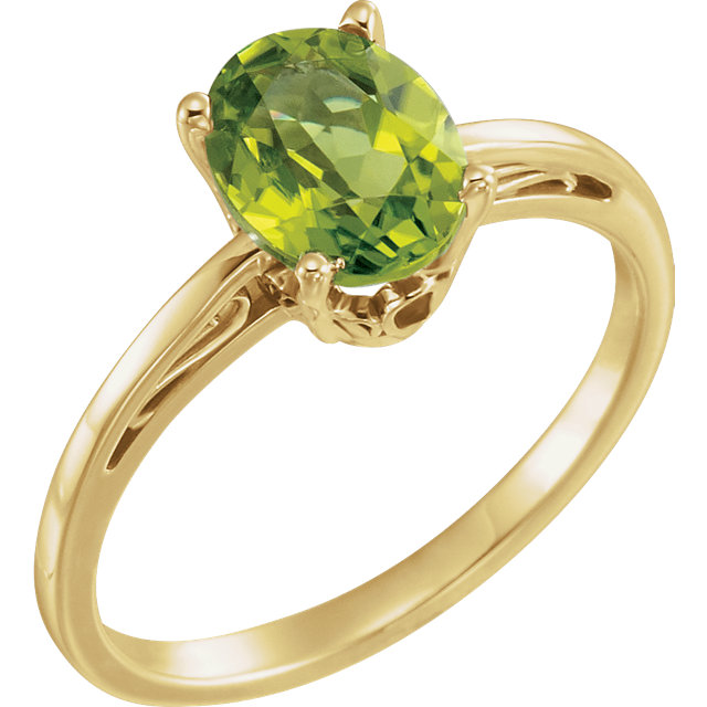Good Looking 14 Karat Yellow Gold Oval Genuine Peridot Ring