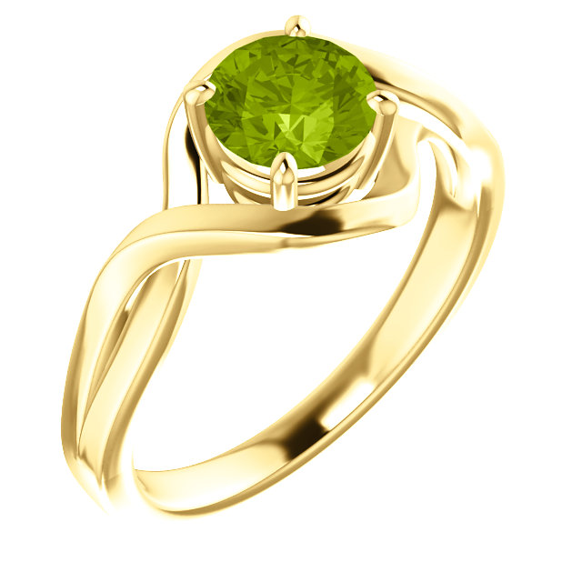 Incredible 14 Karat Yellow Gold Round Genuine Peridot Ring