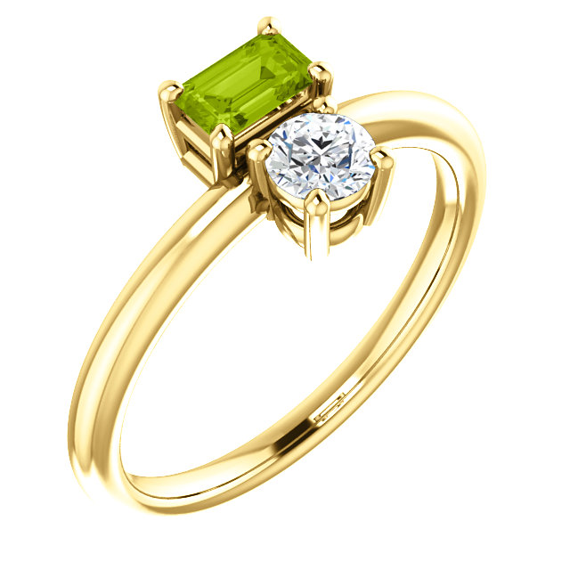 Magnificent 14 Karat Yellow Gold Emerald Genuine Peridot & Sapphire Two-Stone Ring