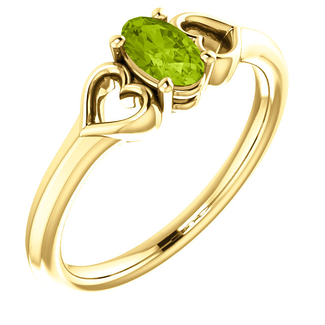 Captivating 14 Karat Yellow Gold Oval Genuine Peridot Youth Heart Ring