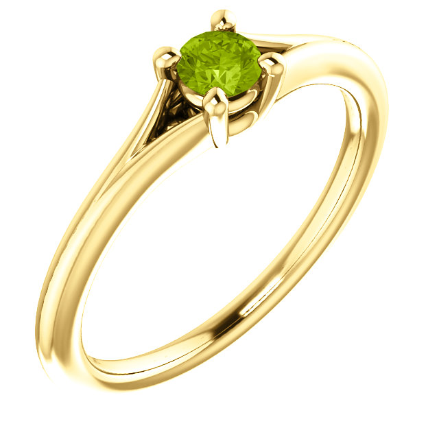 Nice 14 Karat Yellow Gold Round Genuine Peridot Youth Ring