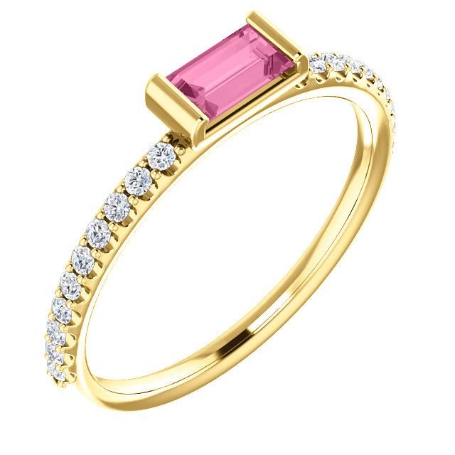 Appealing Jewelry in 14 Karat Yellow Gold Pink Sapphire & 0.17 Carat Total Weight Diamond Stackable Ring