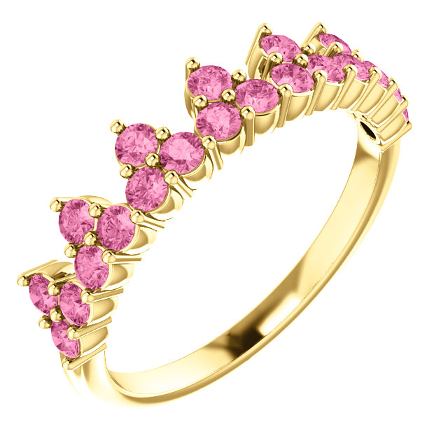 Genuine  14 Karat Yellow Gold Pink Sapphire Crown Ring