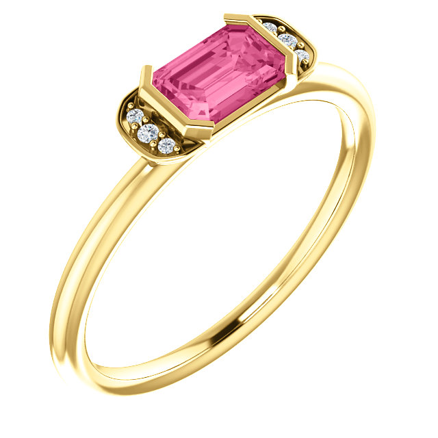Great Gift in 14 Karat Yellow Gold  Pink Tourmaline & .02 Carat Total Weight Diamond Stackable Ring