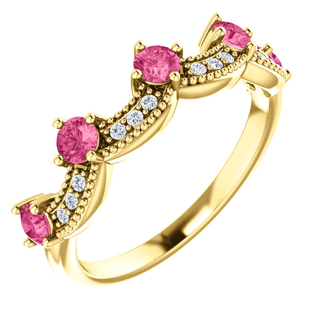 Stunning 14 Karat Yellow Gold Pink Tourmaline & .06 Carat Total Weight Diamond Crown Ring