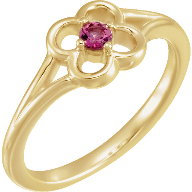 Genuine 14 KT Yellow Gold Pink Tourmaline Flower Youth Ring