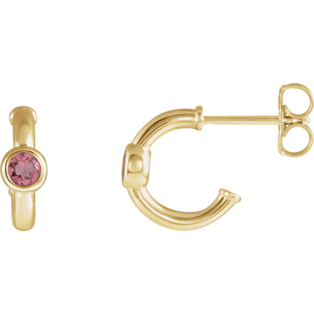 14 Karat Yellow Gold Pink Tourmaline J-Hoop Earrings