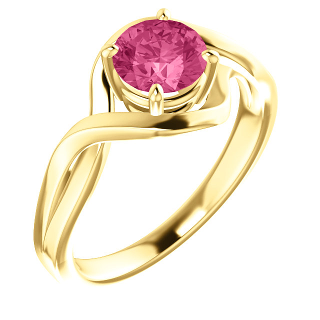 Beautiful 14 Karat Yellow Gold Pink Tourmaline Ring