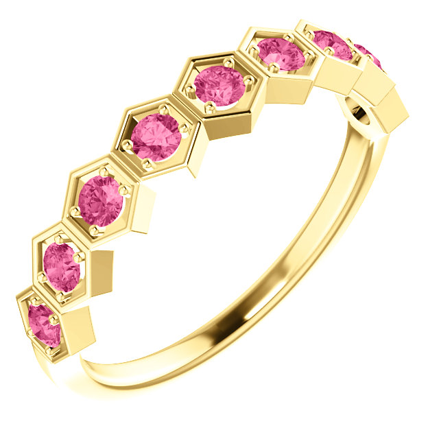Must See 14 KT Yellow Gold Pink Tourmaline Stackable Ring