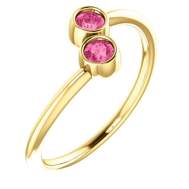 Fine Quality 14 Karat Yellow Gold Pink Tourmaline Two-Stone Ring
