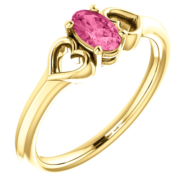Genuine 14 KT Yellow Gold Pink Tourmaline Youth Heart Ring