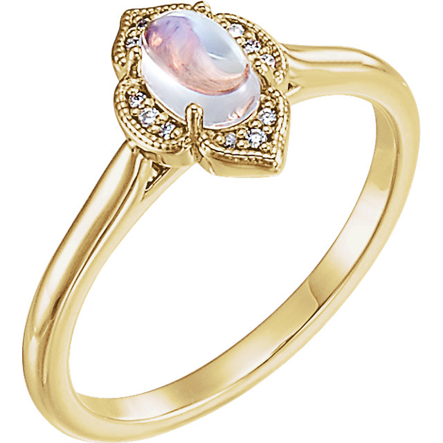 Contemporary 14 Karat Yellow Gold Rainbow Moonstone & .03 Carat Total Weight Diamond Clover Cabochon Ring