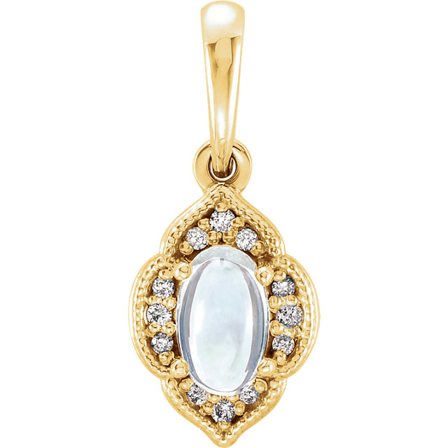 Remarkable 14 Karat Yellow Gold Oval Genuine Rainbow Moonstone & .03 Carat Total Weight Diamond Clover Pendant