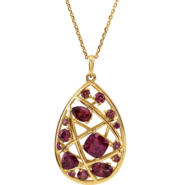 14 Karat Yellow Gold Rhodolite Garnet Nest Design 18