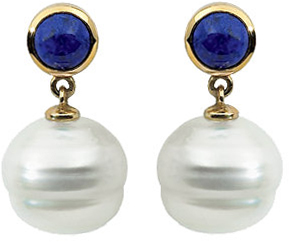 14 Karat Yellow Gold Round Lapis Dangle Earrings