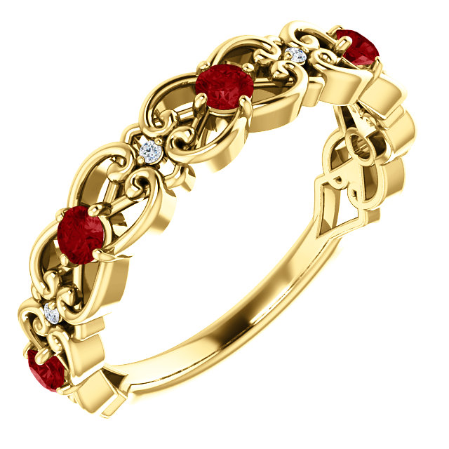 Genuine 14 Karat Yellow Gold Ruby & .025 Carat Diamond Vintage-Inspired Scroll Ring