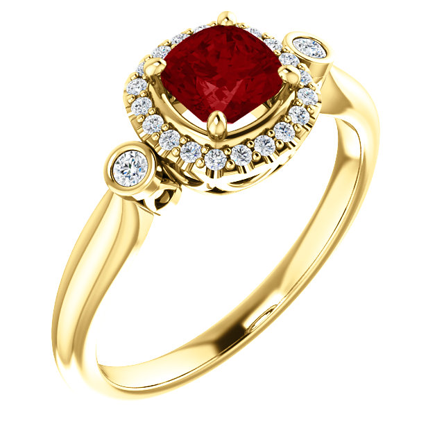 Perfect Gift Idea in 14 Karat Yellow Gold Ruby & 0.17 Carat Total Weight Diamond Ring