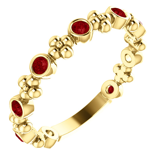 14 Karat Yellow Gold Ruby Beaded Ring