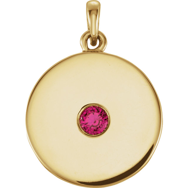 Surprise Her with  14 Karat Yellow Gold Ruby Disc Pendant