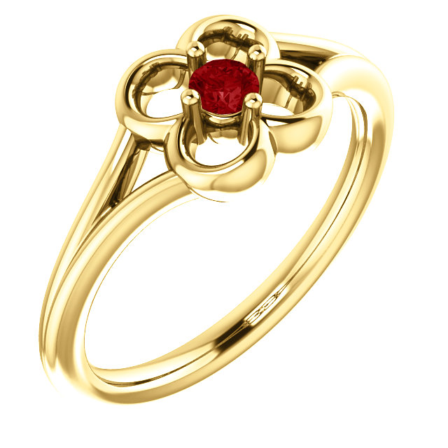 Fine Quality 14 Karat Yellow Gold Ruby Flower Youth Ring