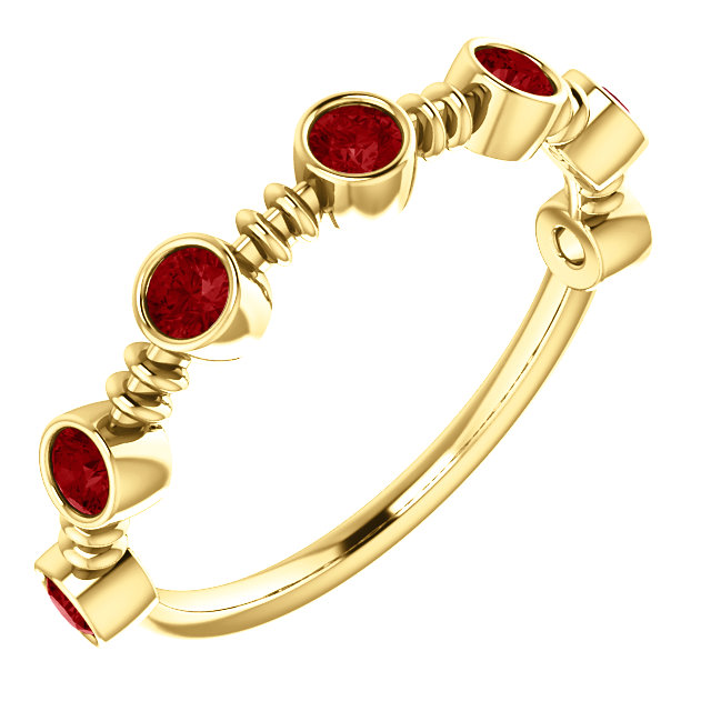 14 Karat Yellow Gold  Ruby Ring