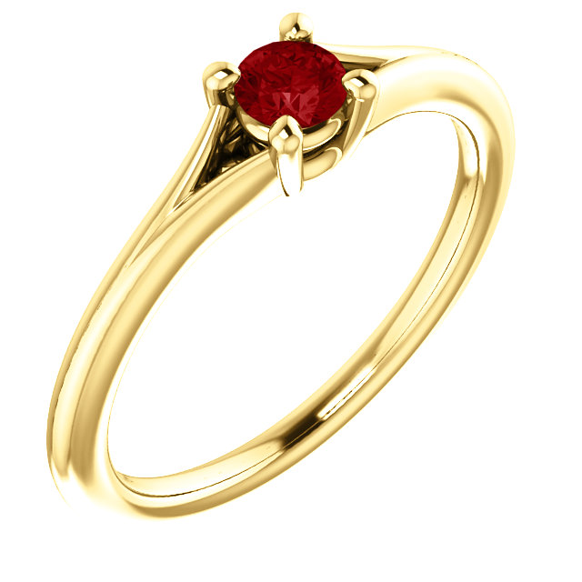 Beautiful 14 Karat Yellow Gold Ruby Youth Ring