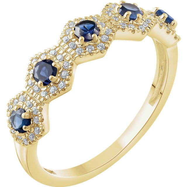 14 Karat Yellow Gold Sapphire & 1/5 Carat Total Weight Diamond Ring