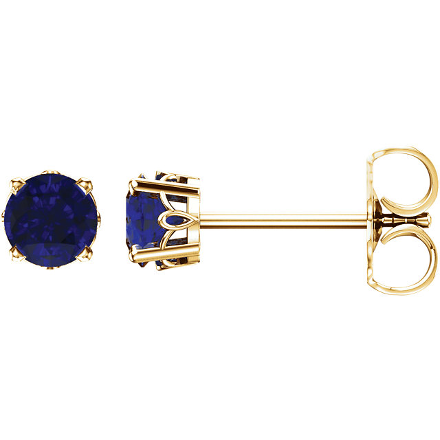 Amazing 14 KT Yellow Gold Sapphire 4-Prong Scroll Setting Stud Earrings
