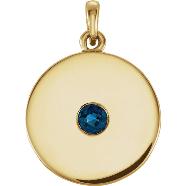Great Deal in 14 Karat Yellow Gold Sapphire Disc Pendant