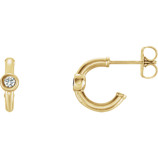 Easy Gift in 14 Karat Yellow Gold Sapphire J-Hoop Earrings