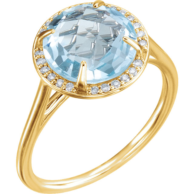 Amazing 14 Karat Yellow Gold Round Genuine Sky Blue Topaz & 1/8 Carat Total Weight Diamond Ring