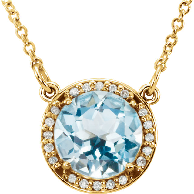 Appealing Jewelry in 14 Karat Yellow Gold 7mm Round Sky Blue Topaz & .04 Carat Total Weight Diamond 16