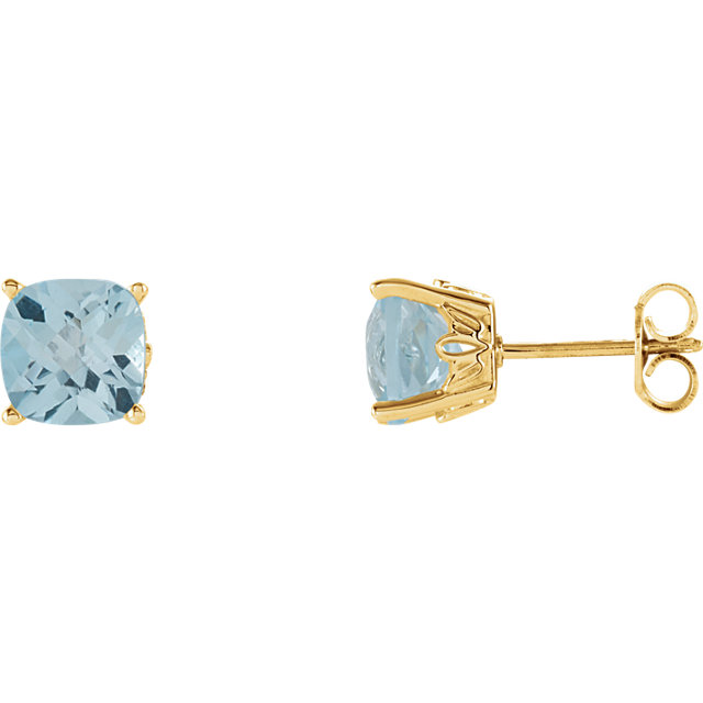 Eye Catchy 14 Karat Yellow Gold Sky Blue Topaz Earrings