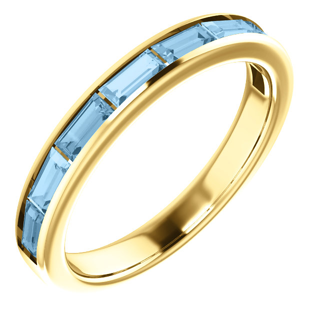 Classic 14 Karat Yellow Gold Straight Baguette Genuine Sky Blue Topaz Ring
