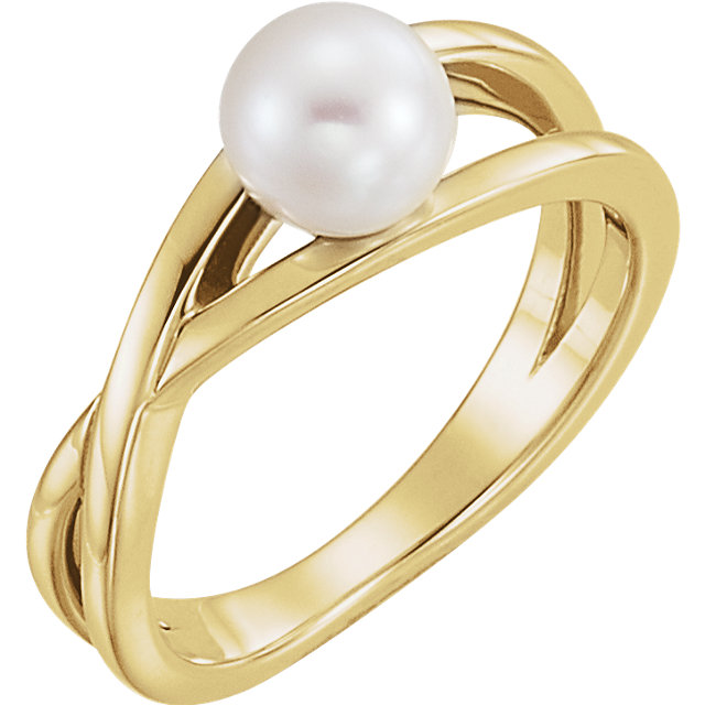 Quality 14 KT Yellow Gold Solitaire Genuine Freshwater Cultured Pearl Ring