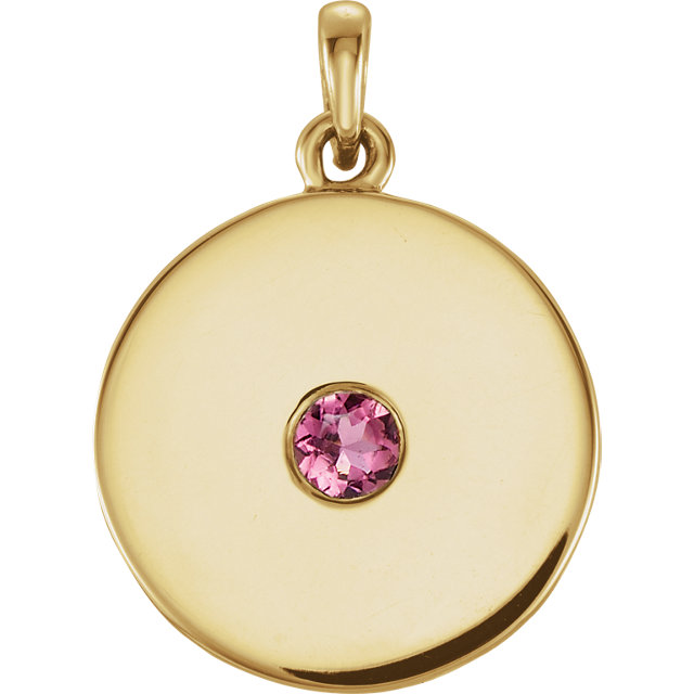 Contemporary 14 Karat Yellow Gold Tourmaline Disc Pendant
