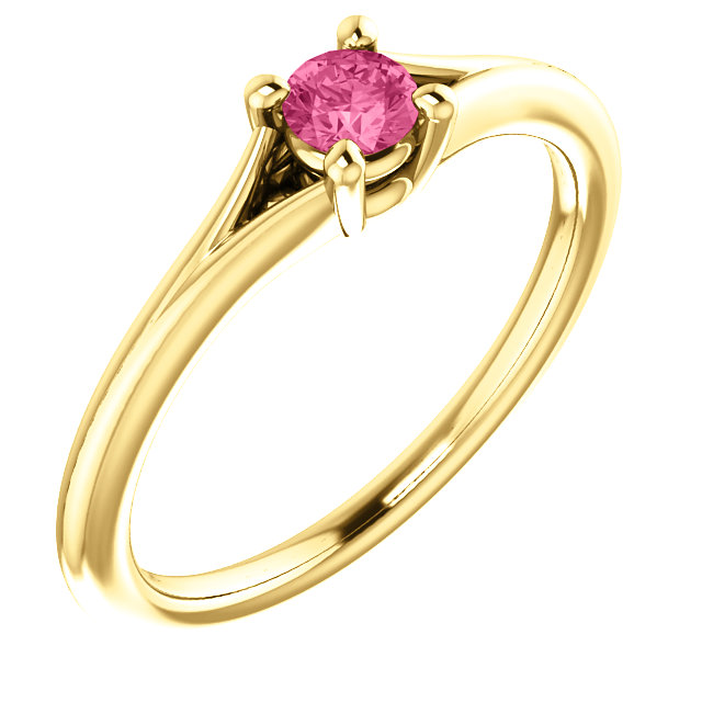 Wonderful 14 Karat Yellow Gold Tourmaline Youth Ring
