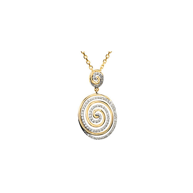 Great Gift in 14 Karat Yellow Gold & White 0.50 Carat Total Weight Diamond Circle 18
