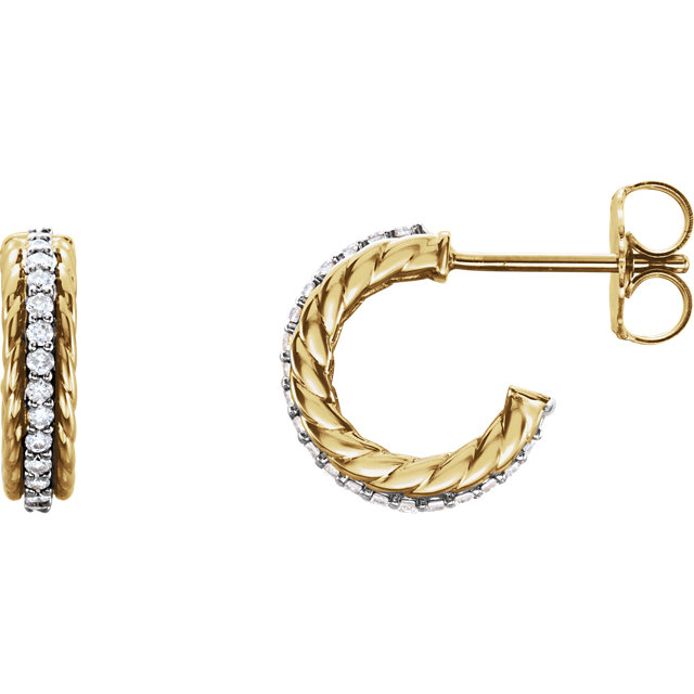 Appealing Jewelry in 14 Karat Yellow Gold & White 0.20 Carat Total Weight Diamond Hoop Earrings