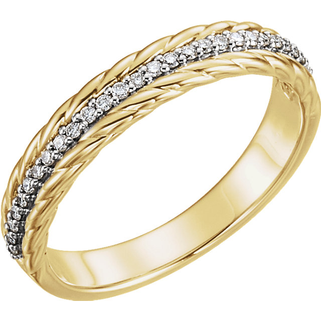 Great Buy in 14 KT Yellow Gold & White 0.17 Carat TW Diamond Rope Ring