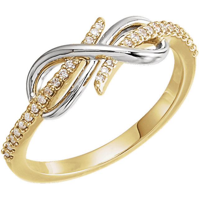 Great Deal in 14 Karat Yellow Gold & White 0.12 Carat Total Weight Diamond Infinity-Inspired Ring