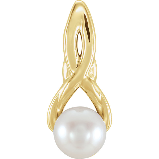 Buy Real 14 KT Yellow Gold Freshwater Cultured Pearl Pendant