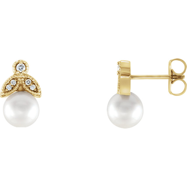 Beautiful 14 Karat Yellow Gold Freshwater Pearl & .07 Carat Total Weight Diamond Earrings