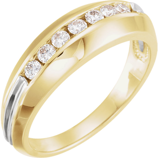 14 Karat Yellow Gold & White Men's 0.40 Carat Diamond Ring