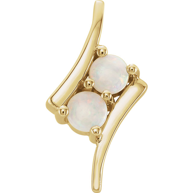 Genuine 14 KT Yellow Gold Opal Two-Stone Pendant