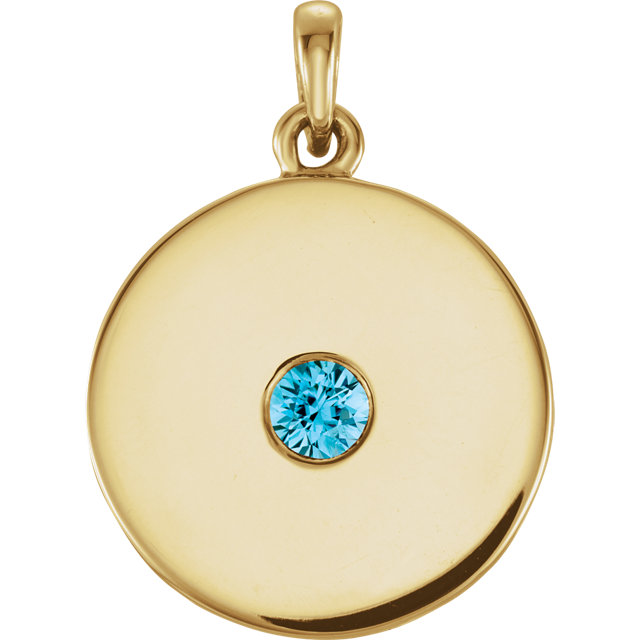 14 Karat Yellow Gold Zircon Disc Pendant