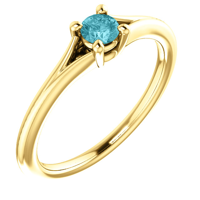 14 Karat Yellow Gold Zircon Youth Ring