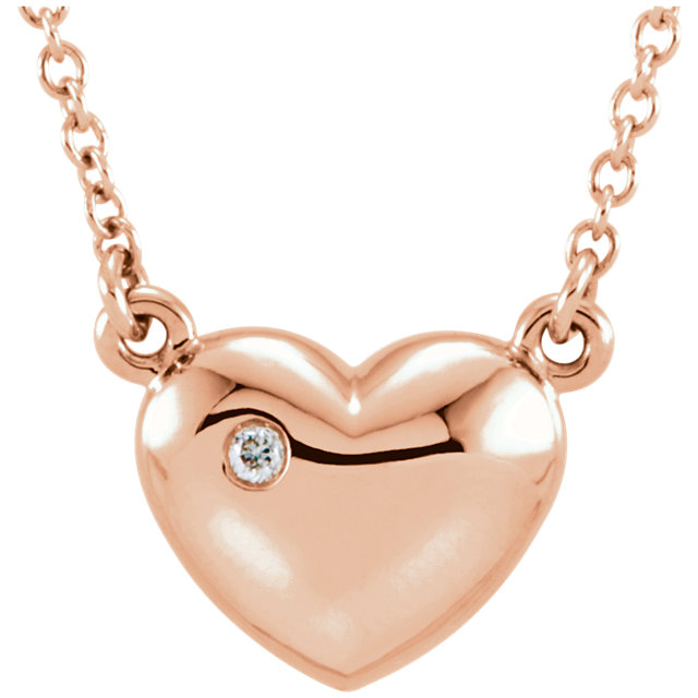 Beautiful 14 Karat Rose Gold .01 Carat Total Weight Diamond Heart 16.5