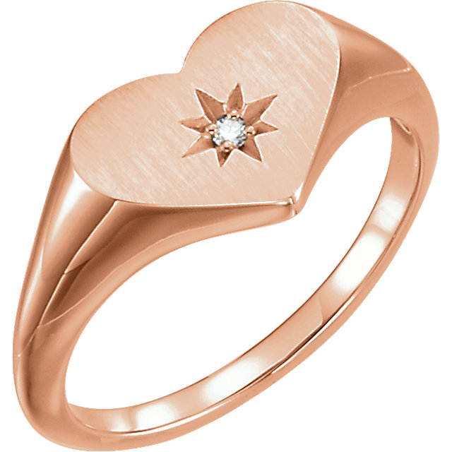 14 Karat Rose Gold .01 Carat Diamond Heart Signet Ring