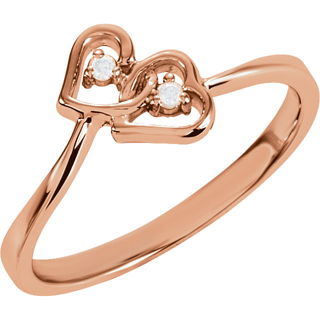Chic 14 Karat Rose Gold .02 Carat Total Weight Diamond Double Heart Ring